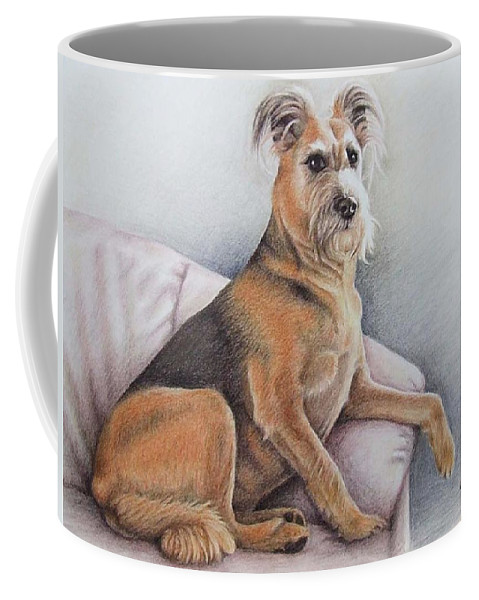 Dog Coffee Mug featuring the pastel Lena by Nicole Zeug