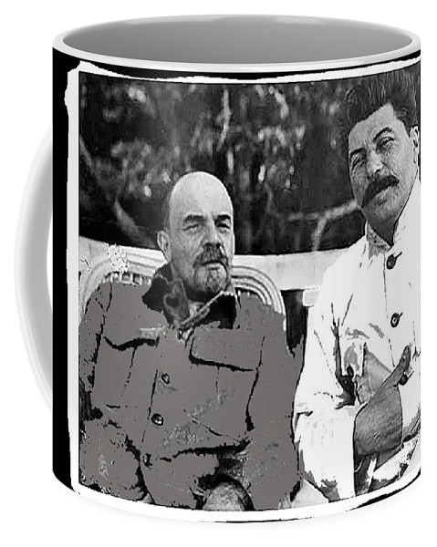 Lenin And Stalin Circa 1923 Color And Drawing Added 2016  Coffee Mug featuring the photograph Lenin And Stalin Circa 1923 Color And Drawing Added 2016  by David Lee Guss