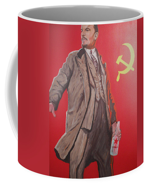 Lenin Coffee Mug featuring the painting Lenin Gets Bolshi After A Bevi by Gary Hogben