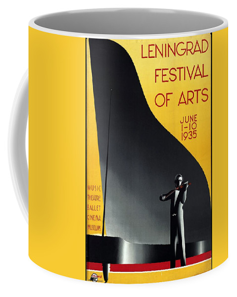 Man Playing Violin Coffee Mug featuring the mixed media Leningrad Festival Of Arts - Man Playing Violin - Retro Travel Poster - Vintage Poster by Studio Grafiikka