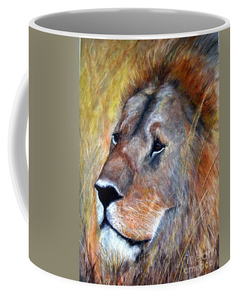 Lion Coffee Mug featuring the painting leo by Frances Marino