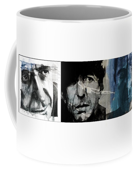 Leonard Cohen Coffee Mug featuring the mixed media Leonard Cohen Triptych by Paul Lovering