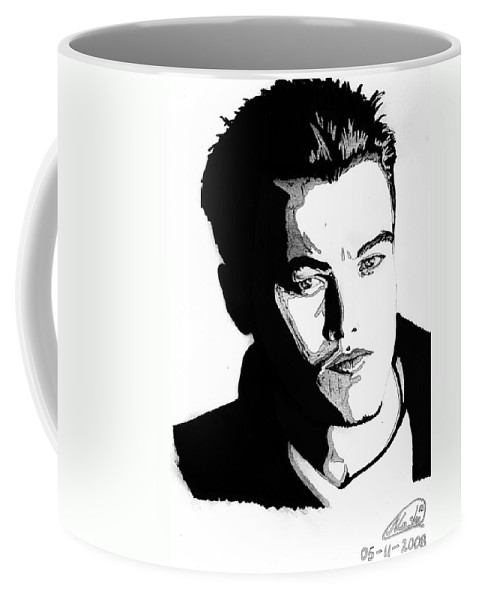 Portrait Coffee Mug featuring the mixed media Leonardo Dicaprio Portrait by Alban Dizdari