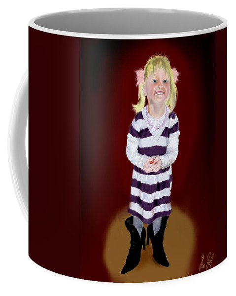Child Coffee Mug featuring the painting Leonies Third Anniversary by Helmut Rottler