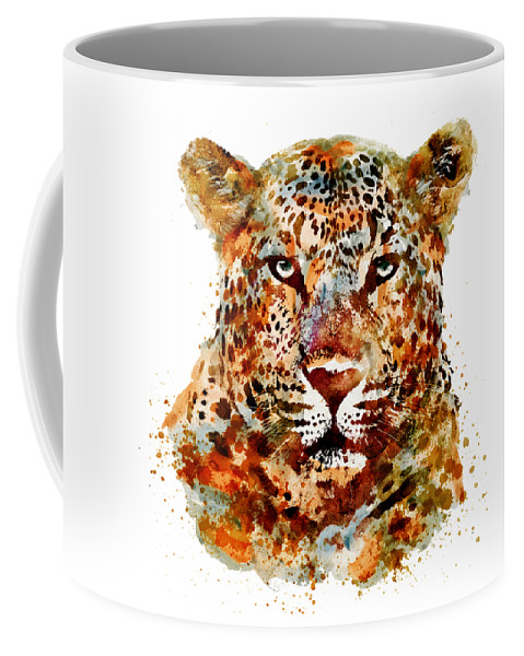 Leopard Coffee Mug featuring the painting Leopard Head Watercolor by Marian Voicu