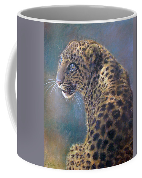 Cats Coffee Mug featuring the pastel Leopard by Iliyan Bozhanov