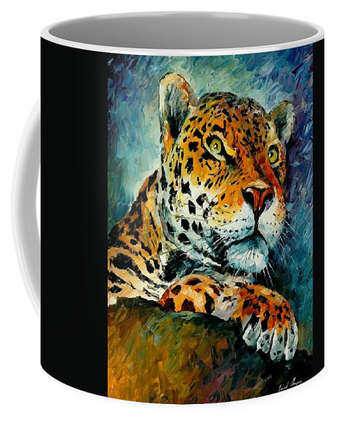 Animals Coffee Mug featuring the painting Leopard by Leonid Afremov
