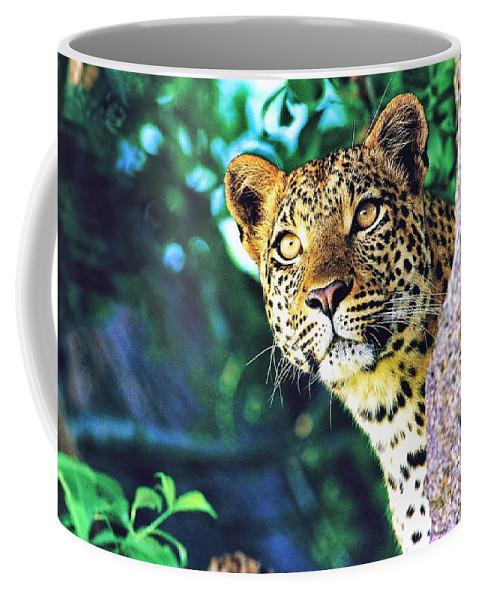 Leopard Coffee Mug featuring the digital art Leopard by Zia Low