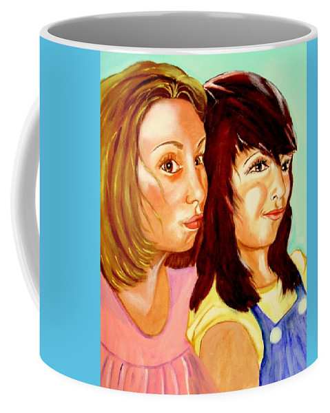 Confidences Coffee Mug featuring the painting Les Meilleures Amies  Hanna And Yasmine by Rusty Gladdish