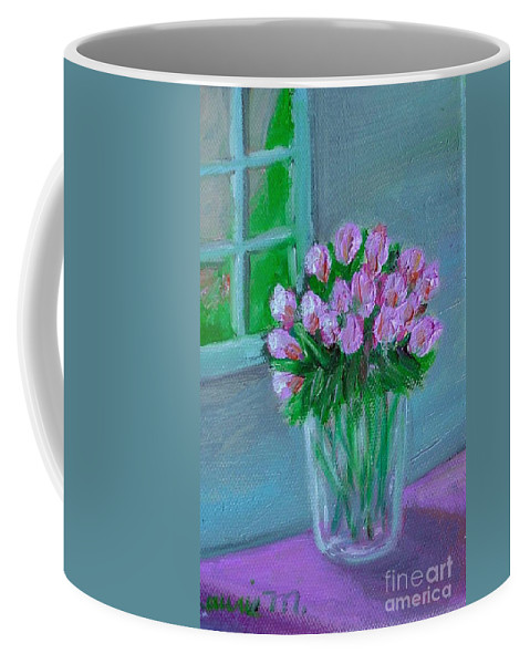 Rose Coffee Mug featuring the painting Leslie's Roses by Laurie Morgan