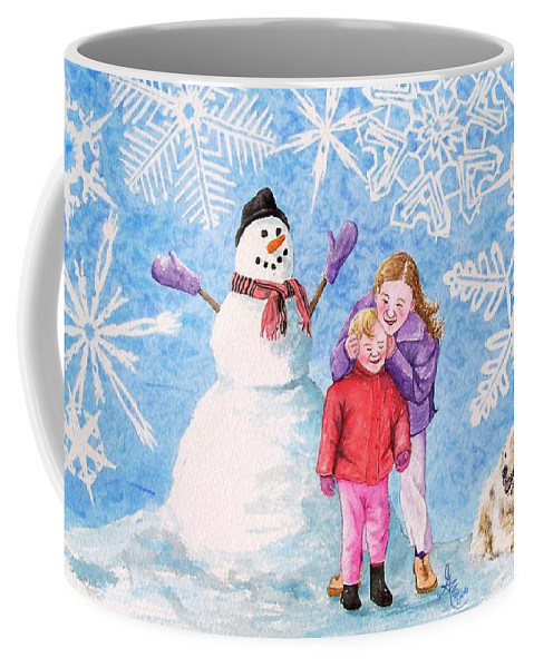 Snowman Coffee Mug featuring the painting Let It Snow by Gale Cochran-Smith