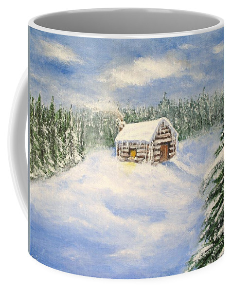 Log Cabin Coffee Mug featuring the painting Let It Snow by Lisa Cini