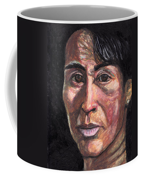 Portrait Coffee Mug featuring the pastel Let The Shadows Fall Where They May by Jean Haynes