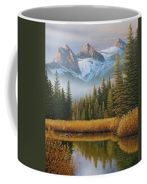 Landscape Coffee Mug featuring the painting Let There Be Light by Jake Vandenbrink