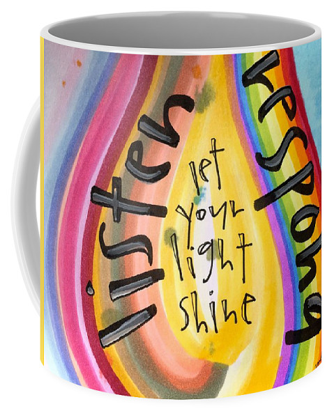 Listen Coffee Mug featuring the painting Let Your Light Shine by Vonda Drees