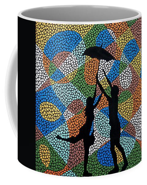 Love Coffee Mug featuring the painting Dancing In The Rain by Kruti Shah