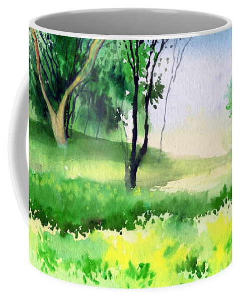 Watercolor Coffee Mug featuring the painting Let's Go For A Walk by Anil Nene