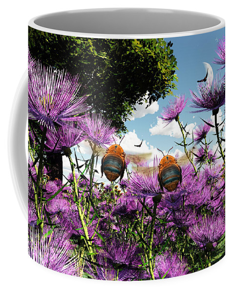 Bloom Coffee Mug featuring the digital art Two Bumblebees Discover The World by Max Steinwald