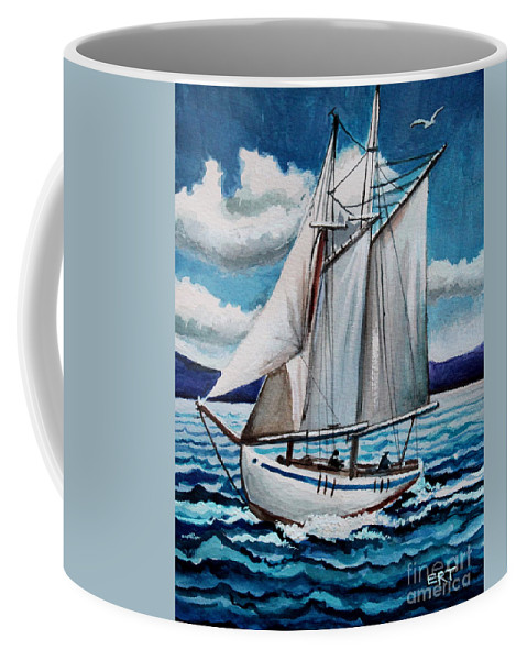 Boat Coffee Mug featuring the painting Let's Set Sail by Elizabeth Robinette Tyndall