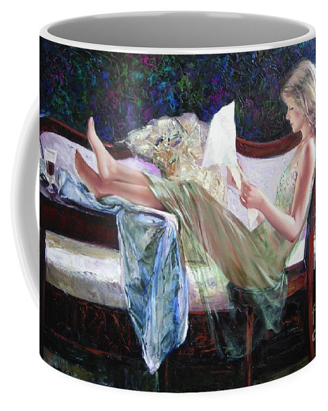 Figurative Coffee Mug featuring the painting Letter From Him by Sergey Ignatenko