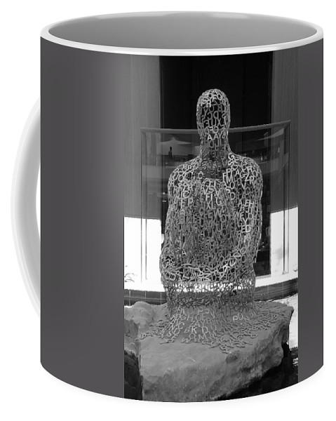 Black And White Coffee Mug featuring the photograph Letter Man by Rob Hans
