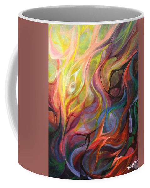 Abstract Coffee Mug featuring the painting Letting Light In by Vesna Delevska