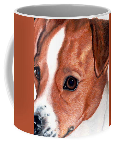 Jack Russell Terrier Coffee Mug featuring the drawing Lewie by Kristen Wesch
