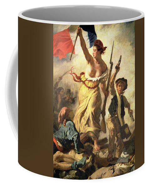 Personification; Female; Bare Breast; Soldier; Bayonet; National Flag; Revolution; Tricolour; Marianne; Freedom Coffee Mug featuring the painting Liberty Leading The People by Ferdinand Victor Eugene Delacroix