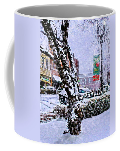 Landscape Coffee Mug featuring the photograph Liberty Square In Winter by Steve Karol