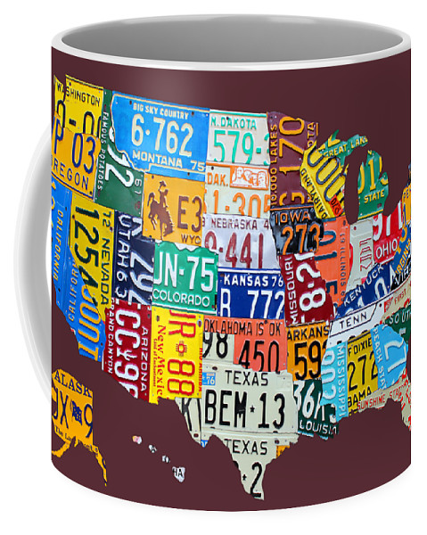 Art Coffee Mug featuring the mixed media License Plate Map Of The United States by Design Turnpike