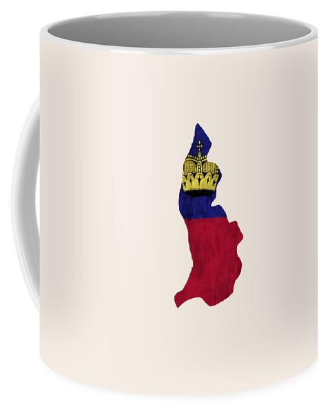 Coffee Mug featuring the digital art Liechtenstein Map Art With Flag Design by World Art Prints And Designs