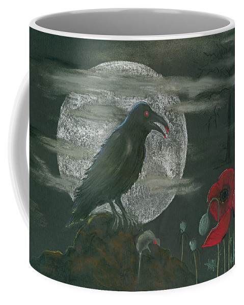 Raven Coffee Mug featuring the pastel Life And Death by Mary Tuomi