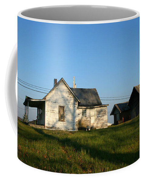 Old House Barn Life Past Age Forgotten Forget Time Left Leave Blue Green White Kentucky Ky Country Coffee Mug featuring the photograph Life Behind by Andrei Shliakhau
