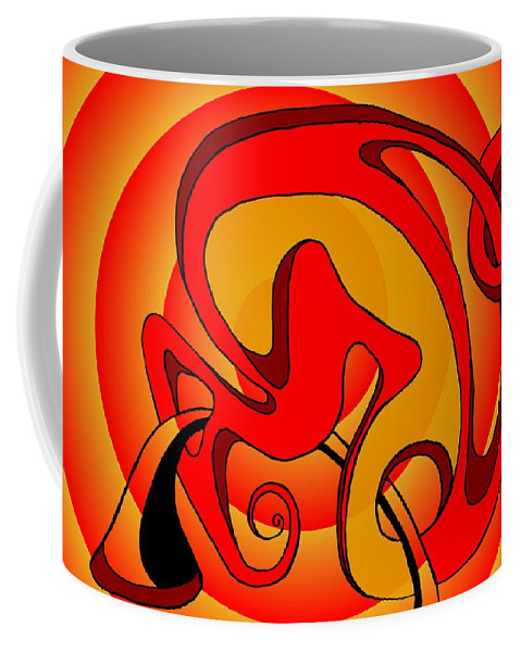 Lifecircuits Coffee Mug featuring the digital art Life circuits- the symbiosis by Helmut Rottler