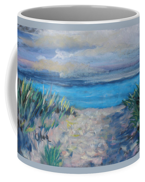 Landscape Coffee Mug featuring the painting Life Is A Beach by Cathy Weaver