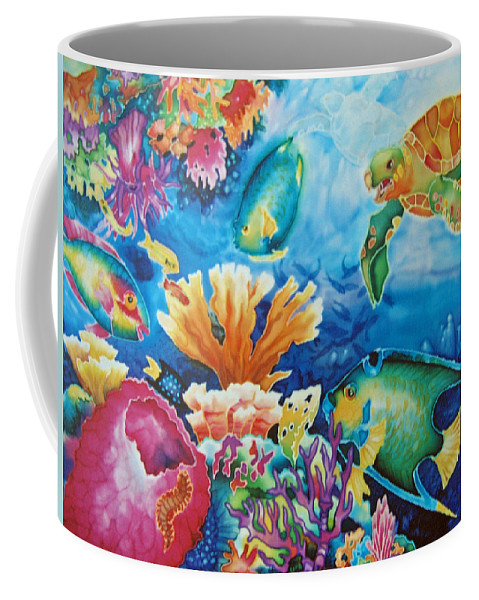 Fish Coffee Mug featuring the painting Life On The Ledge by Deborah Younglao