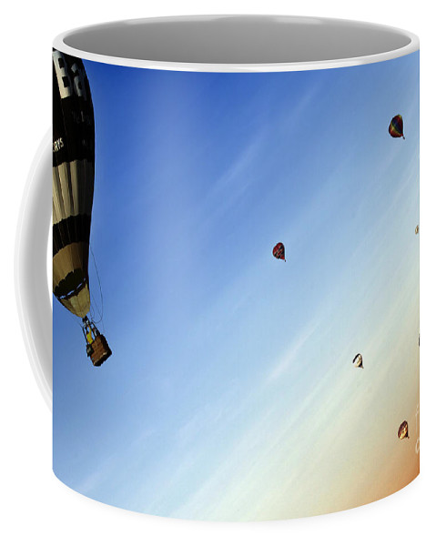 Balloon Coffee Mug featuring the photograph Lifted by Angel Ciesniarska