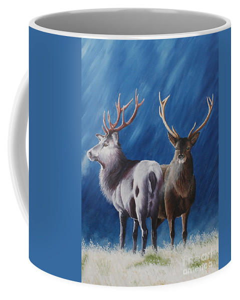 Portrait Coffee Mug featuring the painting Light And Dark Stags by Pauline Sharp