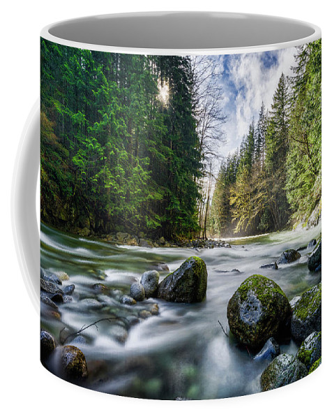 Tye River Coffee Mug featuring the photograph Light Around The Bend by Ron Ludwig