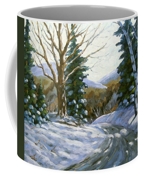 Art Coffee Mug featuring the painting Light Breaks Through The Pines by Richard T Pranke