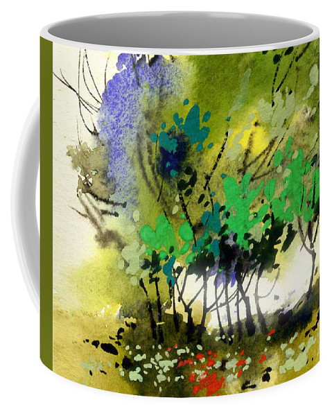 Nature Coffee Mug featuring the painting Light In Trees by Anil Nene