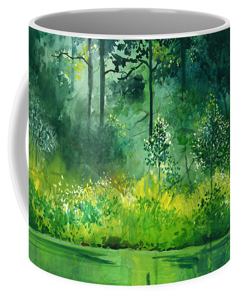 Water Coffee Mug featuring the painting Light N Greens by Anil Nene