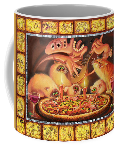 Cats Coffee Mug featuring the painting Light On The Anchovies by Baron Dixon