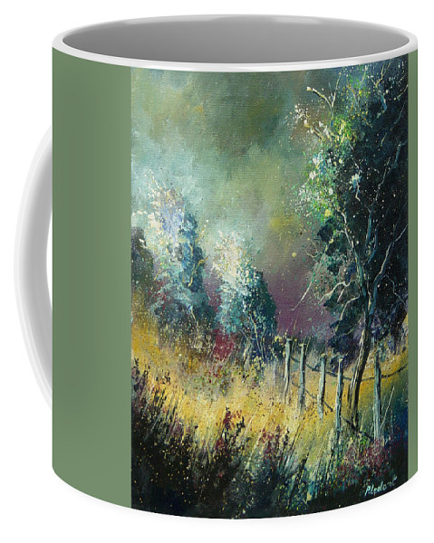 Landscape Coffee Mug featuring the painting Light on trees by Pol Ledent