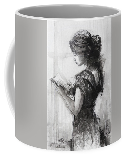 Reading Coffee Mug featuring the painting Light Reading by Steve Henderson