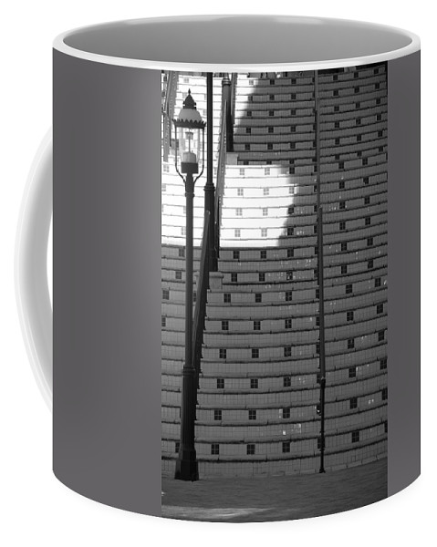 Black And White Coffee Mug featuring the photograph Lighted Steps by Rob Hans