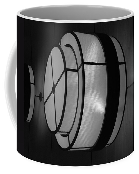 Black And White Coffee Mug featuring the photograph Lighted Wall In Black And White by Rob Hans