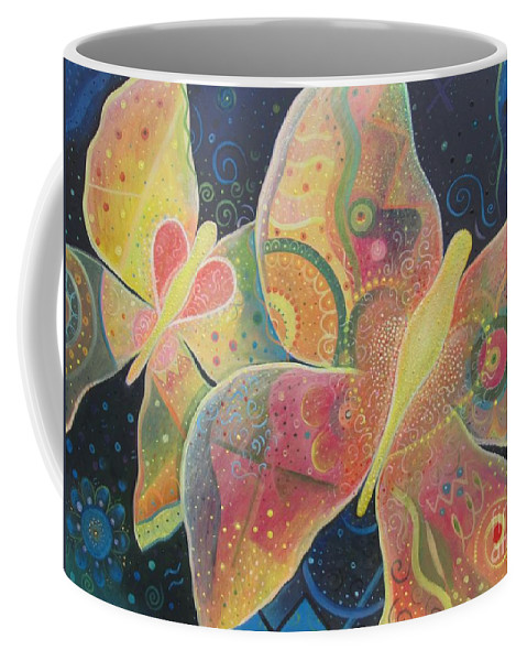 Butterfly Coffee Mug featuring the painting Lighthearted by Helena Tiainen