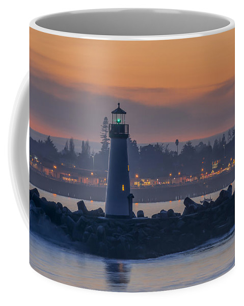 Sunset Coffee Mug featuring the photograph Lighthouse And Wharf At Dusk by Bruce Frye