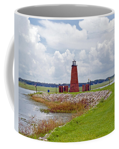Florida; Kissimmee; Toho; Tohopekaliga; Port; Light; Lighthouse; House; Beacon; Brick; Central; Harb Coffee Mug featuring the photograph Lighthouse At Port Kissimmee On Lake Tohopekaliga In Central Florida  by Allan Hughes